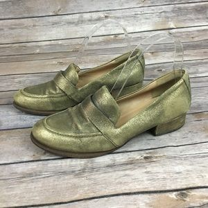 Belle By Sigerson Morrison Gold Metallic Loafer